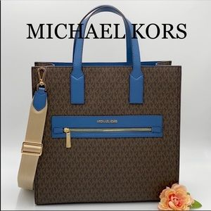 MICHAEL KORS KENLY LARGE NORTH SOUTH TOTE CHAMBRAY